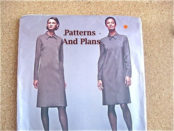 Vintage Vogue Pattern Service 2386, Calvin Klein's Straight Dress with Long Sleeves and Peter Pan Collar