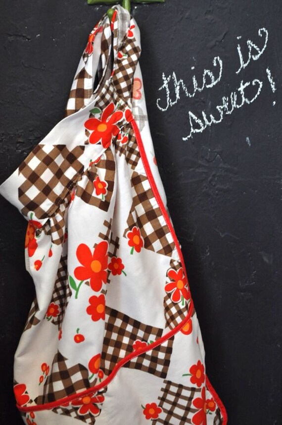 Vintage Half Apron with Red Flowers