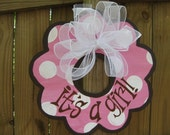 pink baby girl door hanger