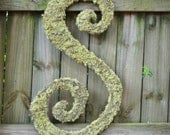 36 inch moss covered wedding monogram letter (curly font)
