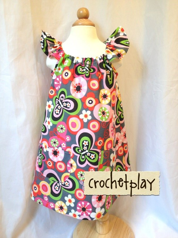3T Whimsical Retro butterfly floral colorful baby toddler sundress tunic with pockets and flutter sleeve