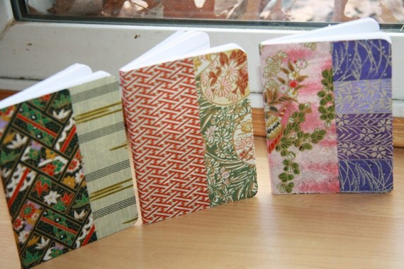 3 Green, Gold, Pink and Purple  Washi paper lined notebooks