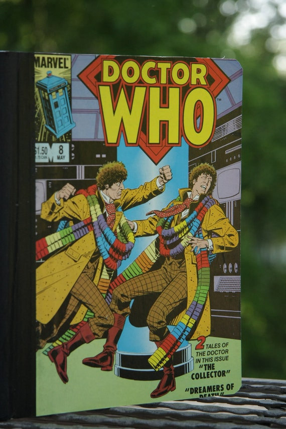 Vintage Doctor Who fights himself lined notebook Journal - 4th Doctor