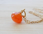 Carnelian Necklace, AAA Carnelian Orange Gemstone Orange Necklace 14kt gold July Birthstone Necklace