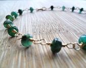 Genuine Emerald Bracelet, 14k Gold Fill May Birthstone May Birthday Mothers Day