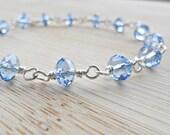 Blue Crystal Bracelet, Blue Bracelet Wirewrapped Bracelet Sky Blue Czech Crystals Sterling Silver Mothers Day SALE