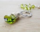 Green Bracelet, Olivine Green Swarovski Crystal Vintage Pearls and Sterling Silver Hammered Ring  Christmas Jewelry SALE