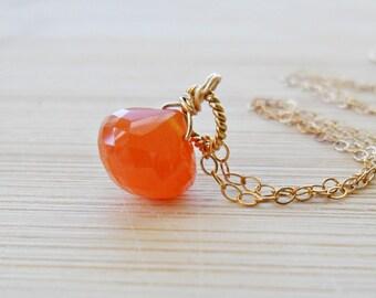 Carnelian Necklace, AAA Carnelian Orange Gemstone Orange Necklace 14kt gold July Birthstone Necklace