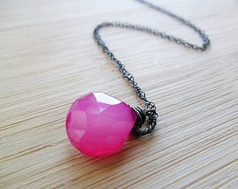 Hot Pink Chalcedony Necklace, AAA Chalcedony Neon Pink Hot Pink Necklace Oxidized Sterling Silver Pink Gemstone Mothers Necklace Mothers Day