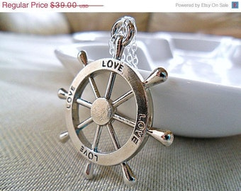 Nautical Necklace, Ships Helm Sterling Silver Ship Boat Nautical Jewelry, Sail Away