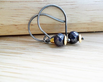 Sapphire Earrings, Blue Gemstone September Birthstone Dark Oxidized Sterling Silver and 14K Gold Mixed Metals September Gemstone Earrings