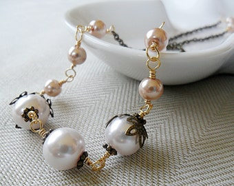 Pearl Necklace, Pink Peach Glass Pearls 14K Gold Fill Antique bronze, Alina Collection