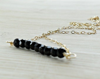 Black Spinel Necklace, AAA Spinel Black Gemstone Necklace Black Necklace 14k Gold Black and Gold Girls Night