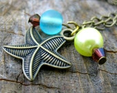 A Day at the Beach- Glass Pearl, Swarovski Crystal, Beach Glass and Brass Starfish Pendant Necklace
