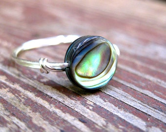 Rustic Shine//Sterling Silver Wire Wrapped Abalone Ring//Made to order // Ready to Ship // Nature Inspired // Ocean Inspired