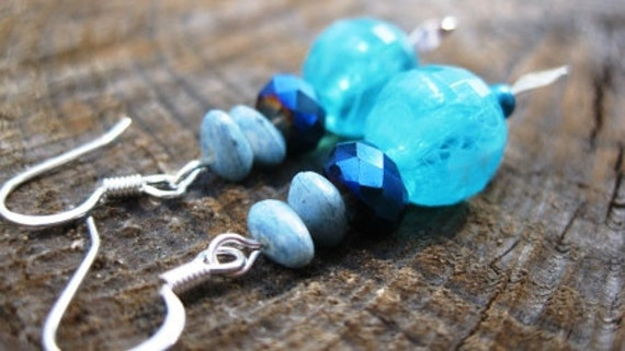 Bubbles-  Vintage Recycled Beads Beaded Dangle Earrings