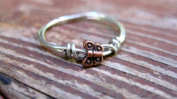 Petite Flier // Copper Butterfly Sterling Silver Wire Wrapped Ring // Custom Size// Made to Order // Delicate Ring // Simple // Minimalist