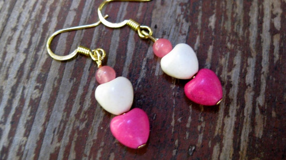 CLEARANCE-Sweetie Pie- Stone Heart Beaded Dangle Earrings-50% off- Already reduced-