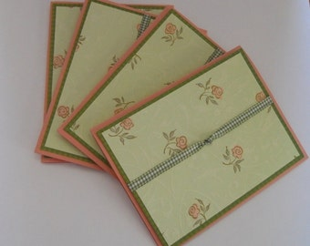 Handmade Set of 4 Blank Floral Note Cards,Birthday Gift, Stationery