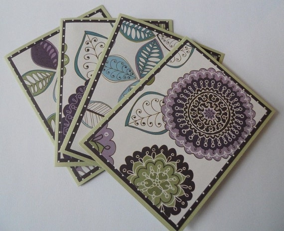 Handmade Purple and Sage Set of 4 Note Cards