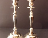 tall pair of vintage silver plate candlesticks