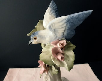 Vintage CORDEY PORCELAIN Bird on Branch with ROSES 1940s 1950s Signed