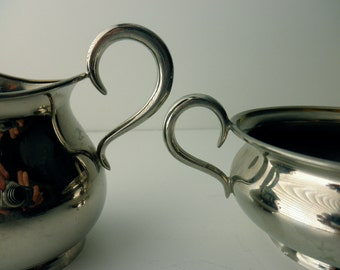 vintage chrome Universal Landers, Frary and Clark sugar and creamer 1950's