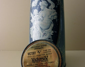 "1800s antique advertising 11"" tall tin -  victorian, goddess, Cupid, Victory V Gums and Lozenges"