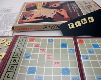 vintage 70s Pocket Edition Scrabble Game with plastic tiles
