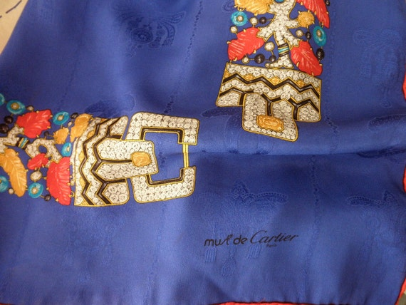 Cartier vintage blue silk scarf-hand rolled, Paris, jewels