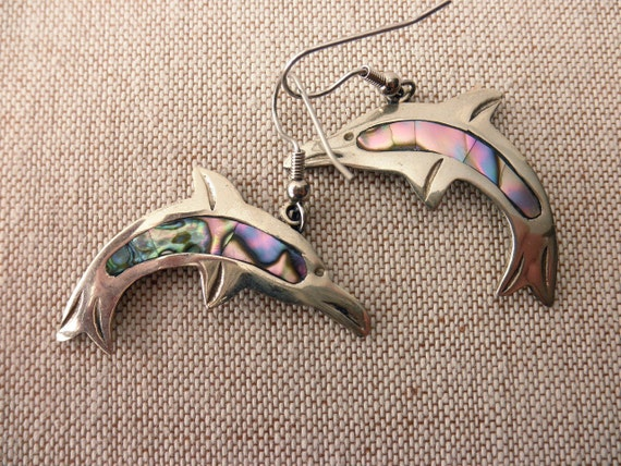 vintage silver dolphin pierced earrings - abalone, shell, ocean, Mexico
