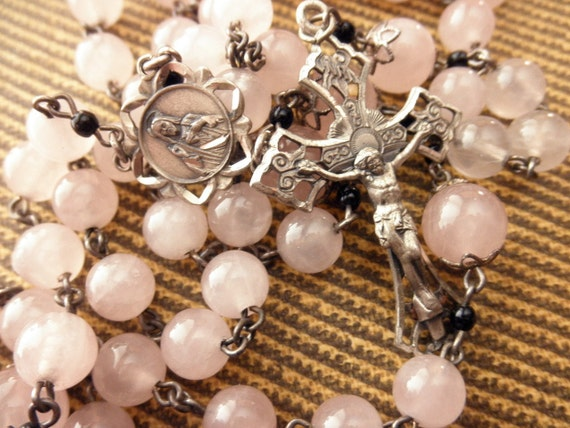 vintage rose quartz and sterling rosary-pink, silver