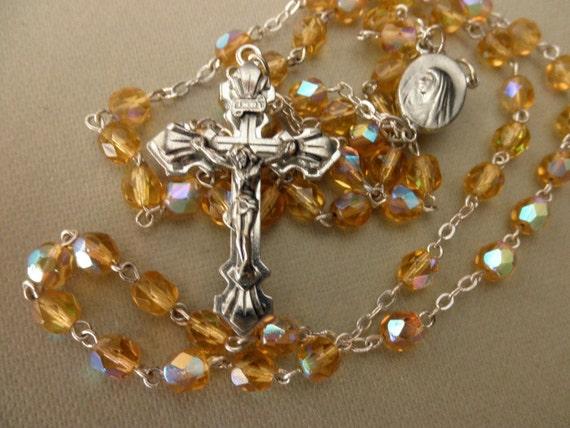 vintage crystal rosary-