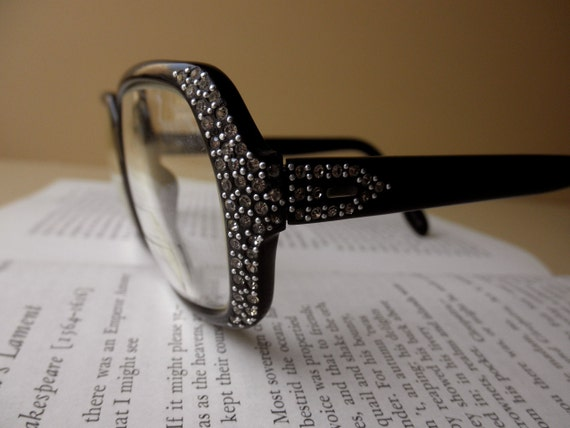 vintage eyeglasses with rhinestones - black, glasses, 1960s, made in France