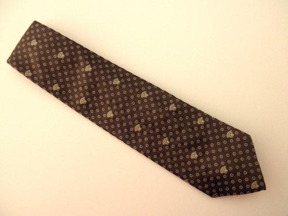 vintage designer silk tie - Versace, made in Italy, brown