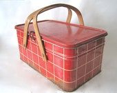 Vintage Red Plaid Tin Picnic Basket