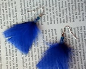 Sapphire Single Feather Earrings Jewelry Feathers Beads Lovely Pink Clear Silver Recycled Upcycled Craft Pretty