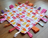 Pink Owl Taggie Blanket- Personalization Available