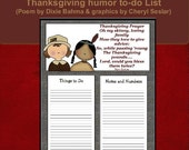 Humorous Thanksgiving to-do List (poem by Dixie Bahma graphics by Cheryl Seslar)