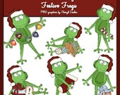 Festive Frogs (6 PNG graphics by Cheryl Seslar)