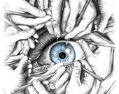 Drawn to See - Blue - Mini Poster