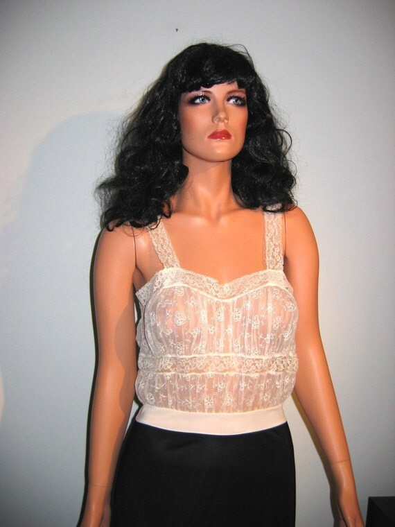 Vintage 1950's Cami top Full slip. All Nylon, chiffon and Lace.  Van Raalte, size 34.  Black and creamy White.