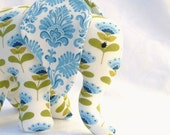 Elephant toy with pacifier tail and sound, blue and white. Made to order.