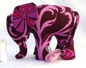 Elephant toy in pink and brown with pacifier tail and sound. Made to order.