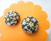Orange and Yellow Fabric Covered Button Earrings - Petite Flower Stud Earrings (size 24)