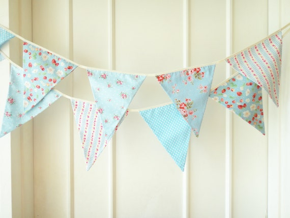 Sweet Blue Bunting, Wedding Fabric Banner, Bunting Flags, Floral, Strawberry, Roses, Stripes, Polka Dots  - 3 yards