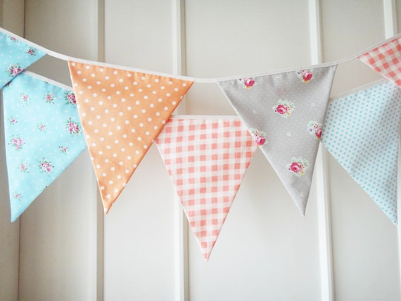 Tangerine and Aqua Blue Bunting, Fabric Banners, Wedding, Photo Prop, Floral, Orange and Blue Shade - 3 yards (Last one )