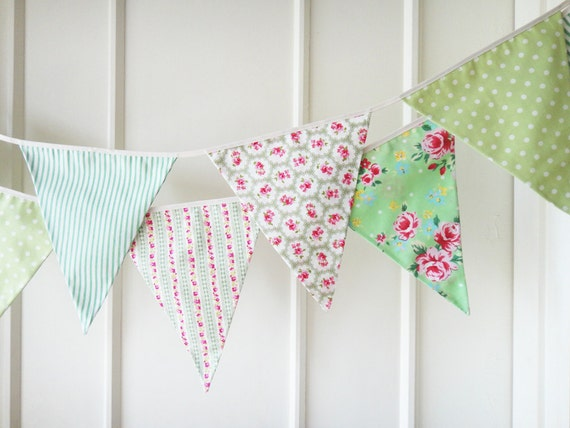 New Green Fabric Banners, Green and  Pink Bunting, Wedding Bunting,Garland,  Floral, Roses, Stripes, Polka Dots - 3 yards