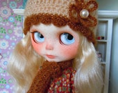 SALE PRICE Crochet hat and scarf for Blythe doll