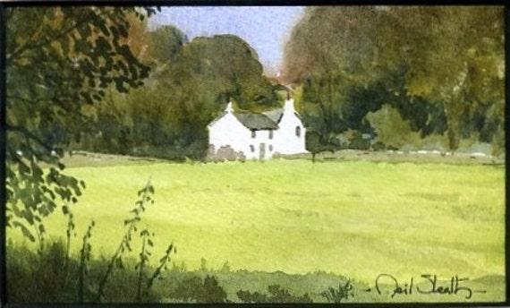 Miniature watercolor - Lakeland Farm